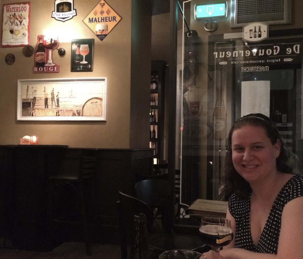 Sarah enjoying Kasteel Rouge, De Gouverneur, Maastricht, the Netherlands