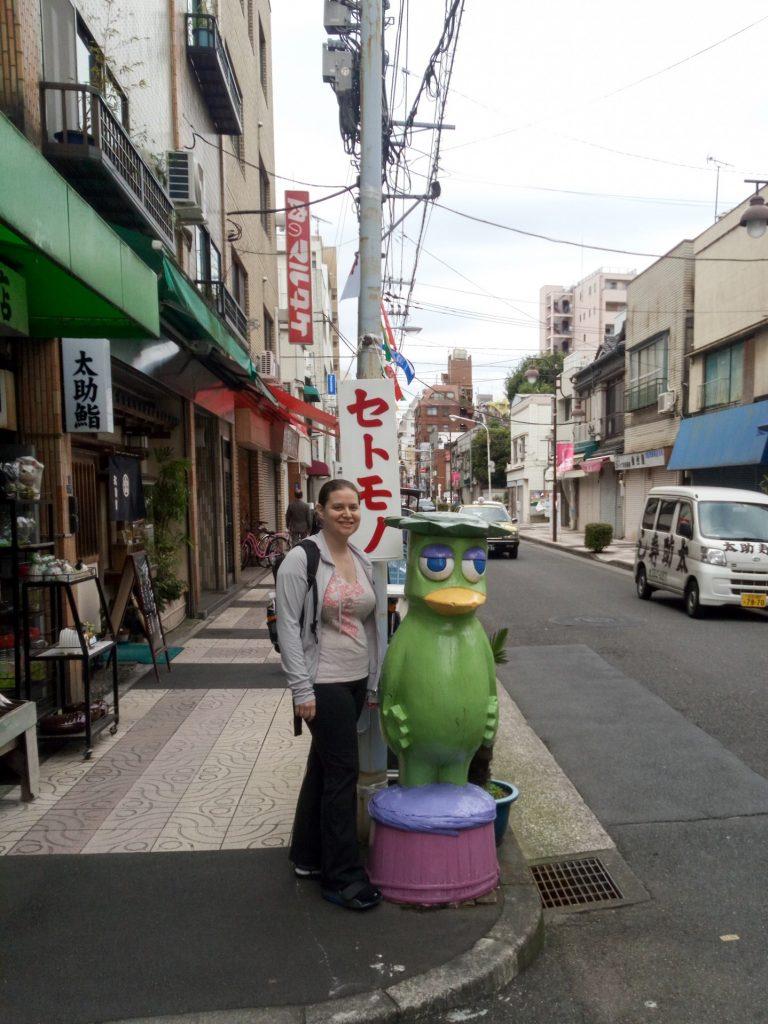With the Kappabashi mascot, Asakusa, Tokyo, Japan