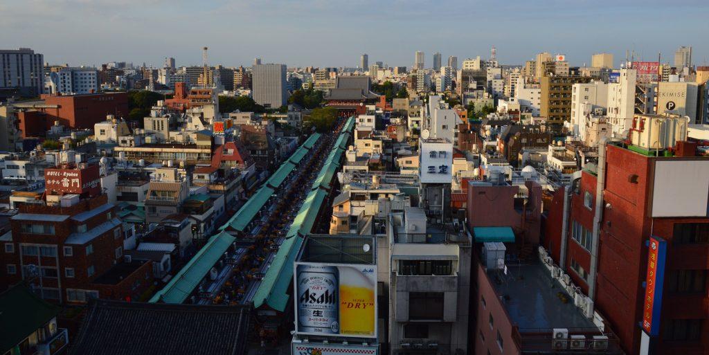 View of Asakusa from Asakusa Culture and Tourism Center, Tokyo, Japan