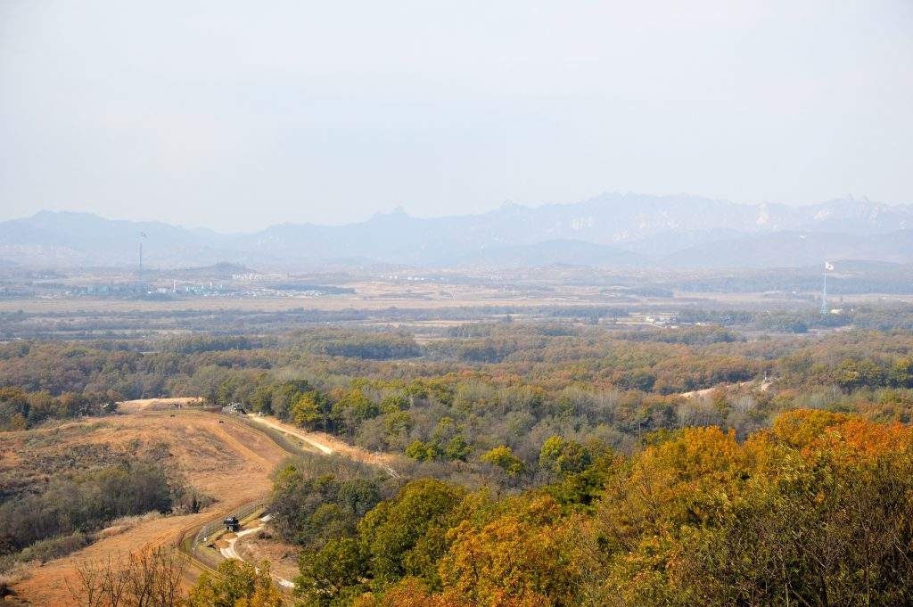 View of Kijŏngdong (North Korea) and Tae Sung Dong (South Korea) from Dora Observatory, DMZ