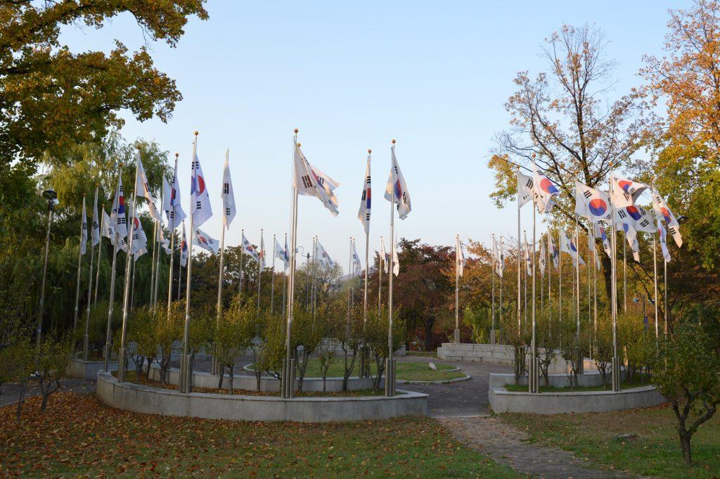 South Korean flags in Yongsan Family Park, Seoul, South Korea