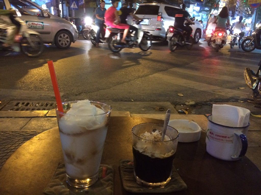 Iced coffee and coconut coffee smoothie, Hanoi, Vietnam