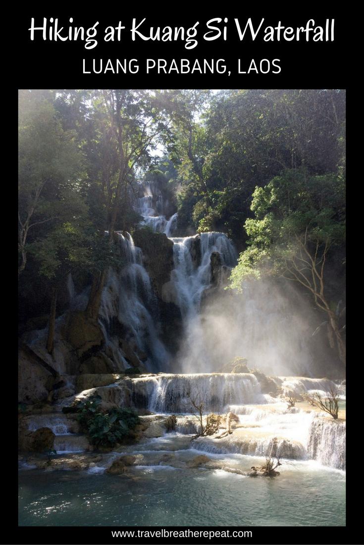 Hiking at Kuang Si Waterfall, Luang Prabang, Laos