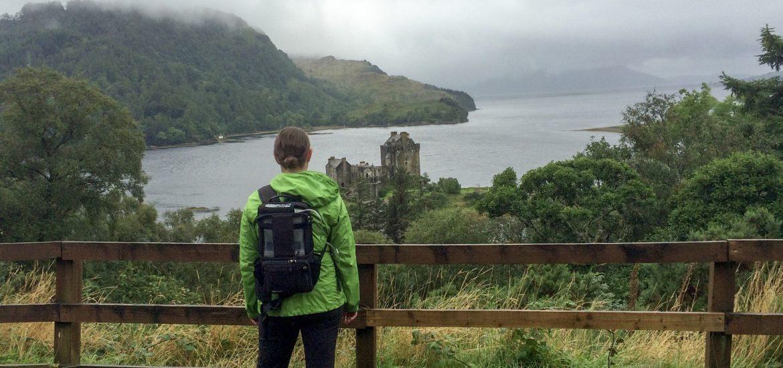 Admiring the view of Eilean Donan Castle in Dornie, Scotland