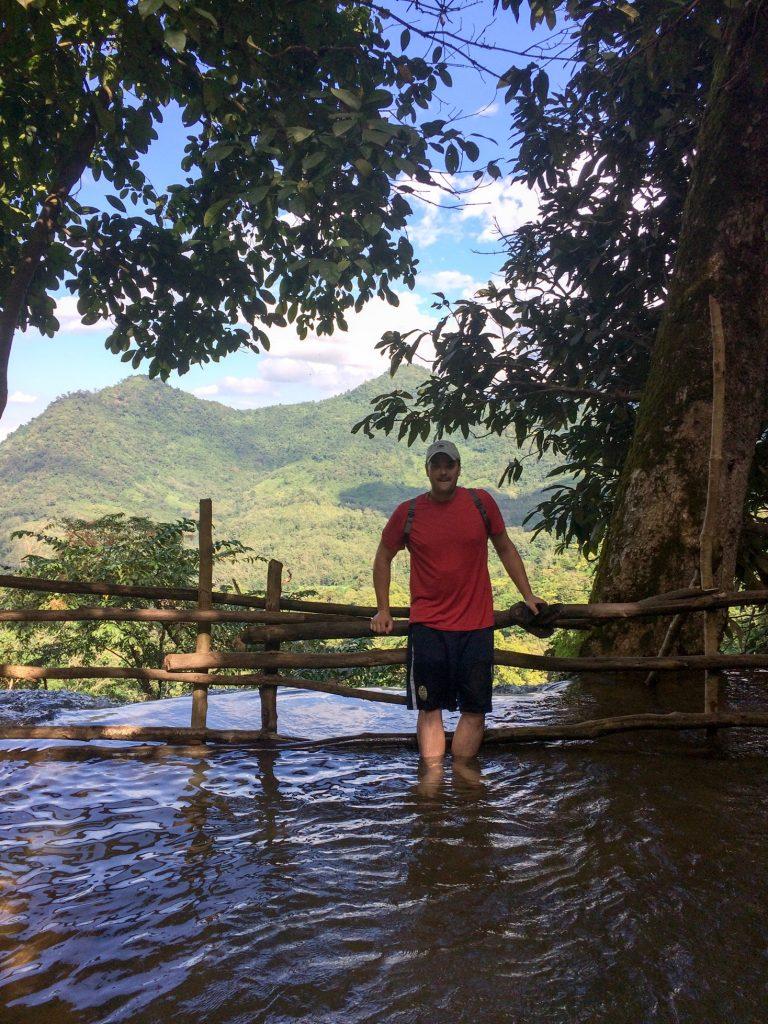 At the top of Kuang Si Waterfall, Luang Prabang, Laos