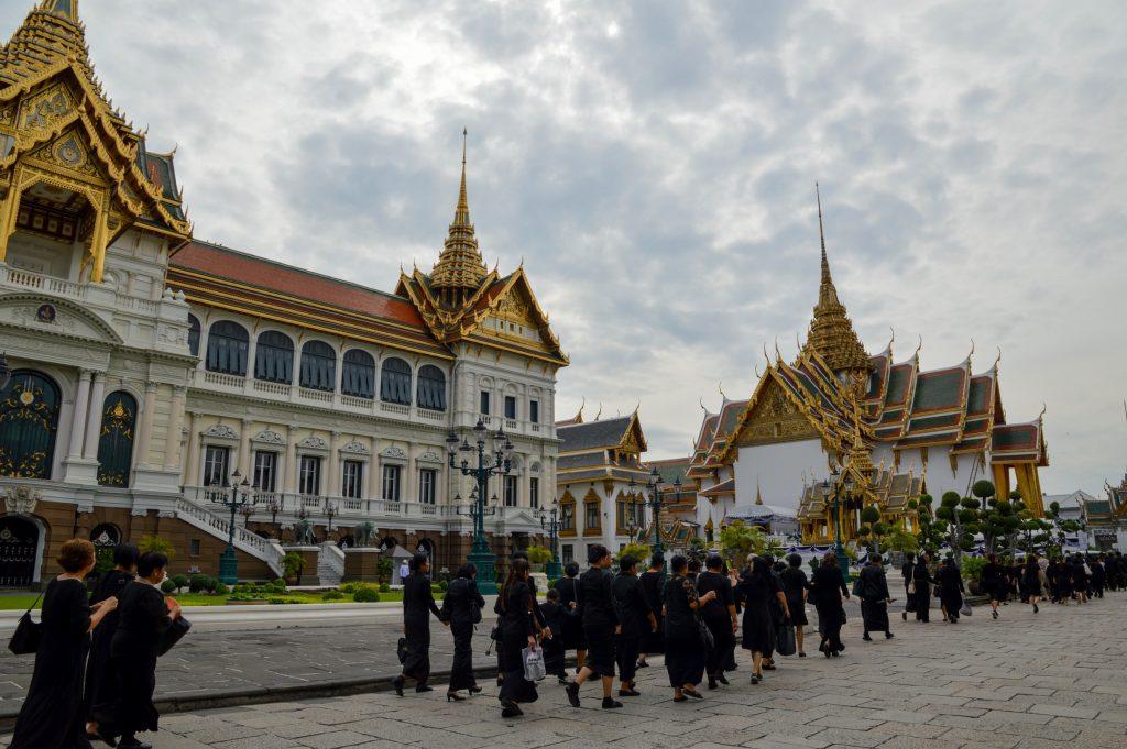 Mourners at the Grand Palace in Bangkok, Thailand