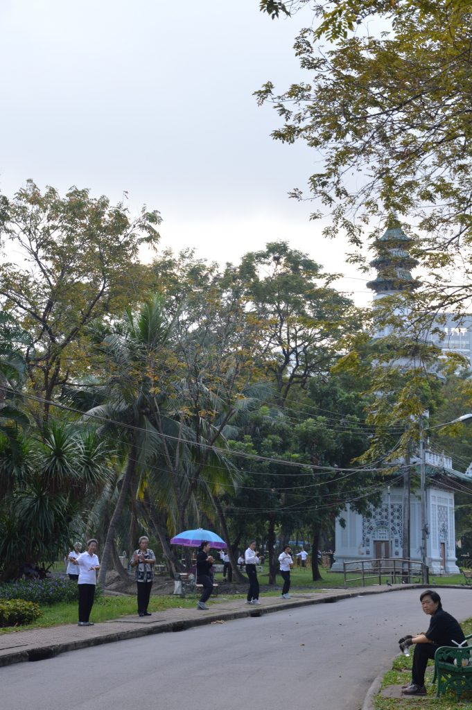 Doing Tai Chi in Lumphini Park, Bangkok, Thailand