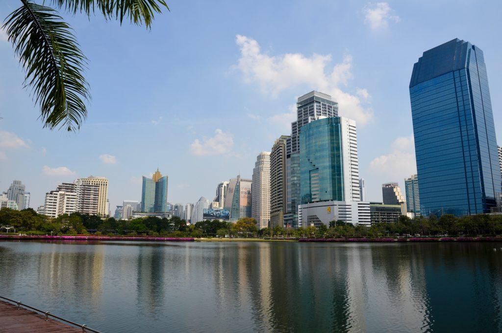 Skyline view from Benjakitti Park, Bangkok, Thailand