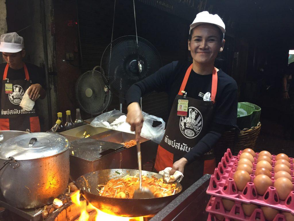 Pad Thai cooking at Thip Samai, Bangkok, Thailand