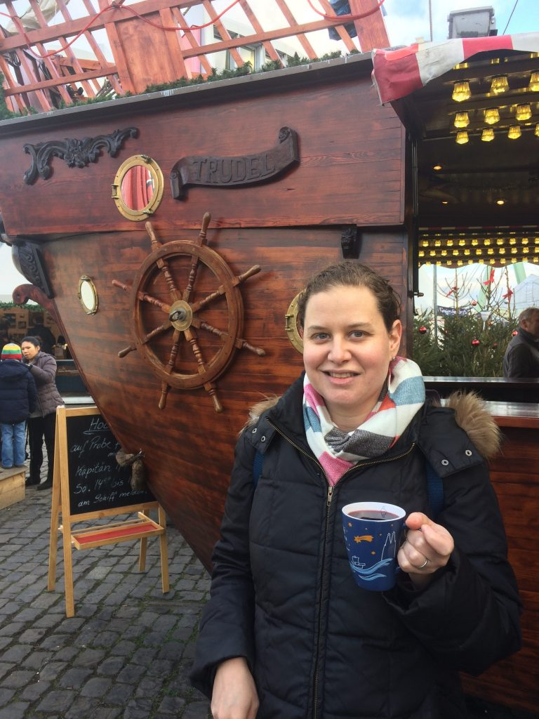 Enjoying Glühwein at the Harbour Christmas Market in Köln, Germany