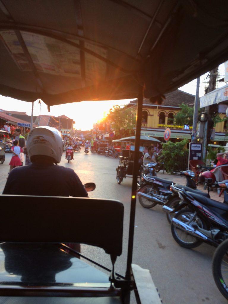 Seeing sunset by tuk-tuk in Siem Reap, Cambodia