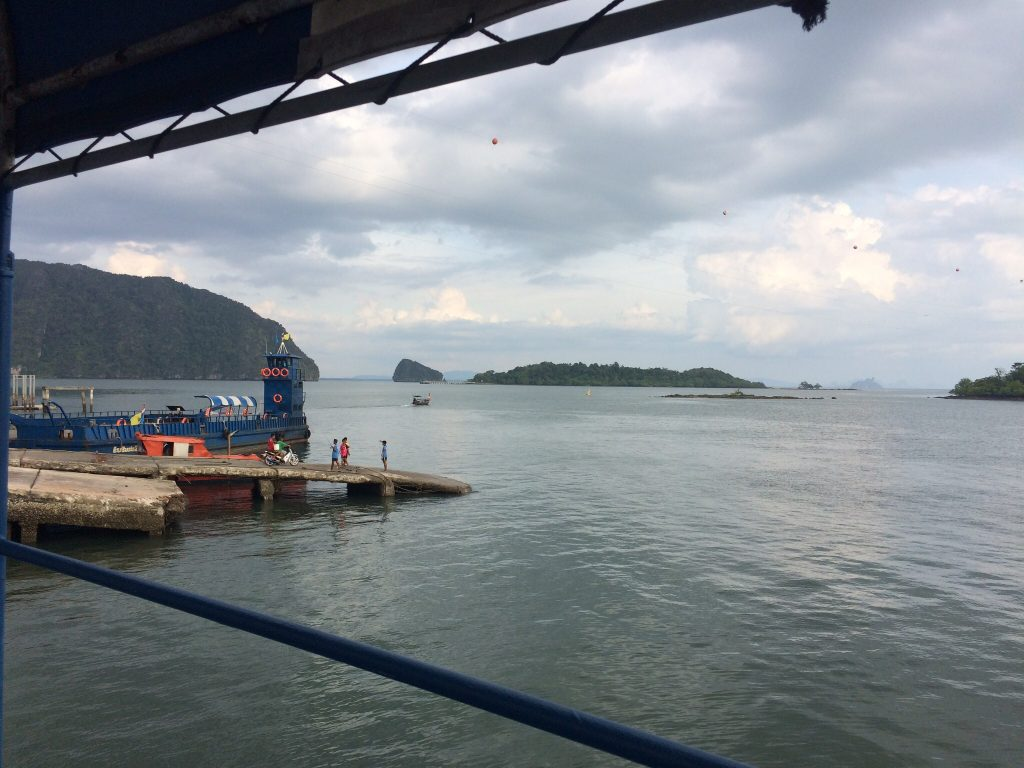 View of the pier from the ferry to Ko Lanta, Thailand