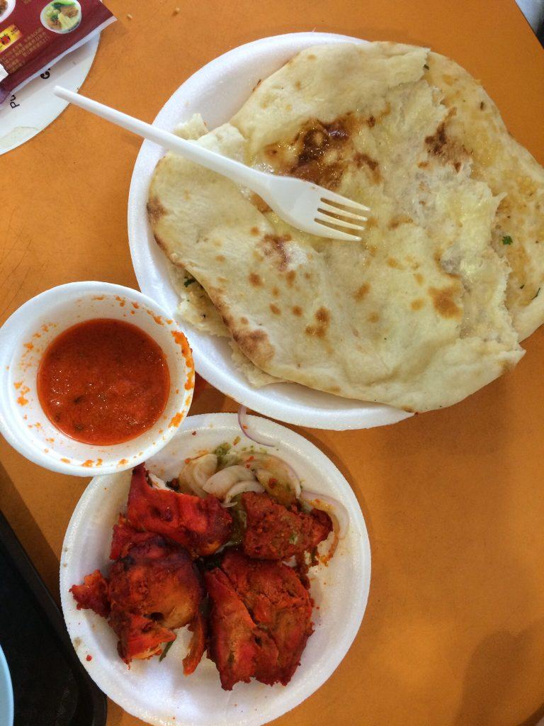 Naan and tandoori chicken, Al Medina Food Corner, Tekka Centre, Singapore