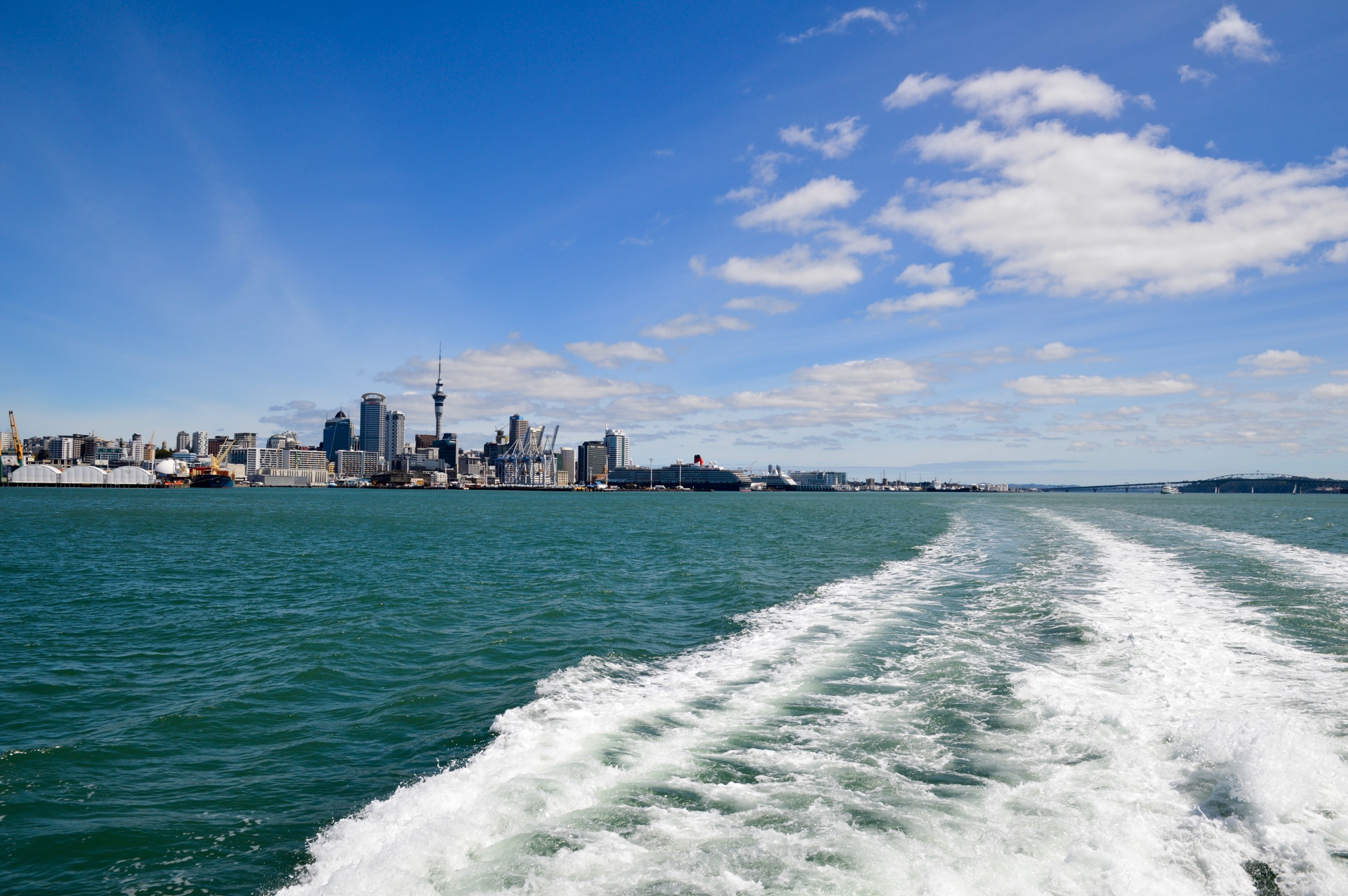 View of Auckland on the ferry to Waiheke Island, New Zealand