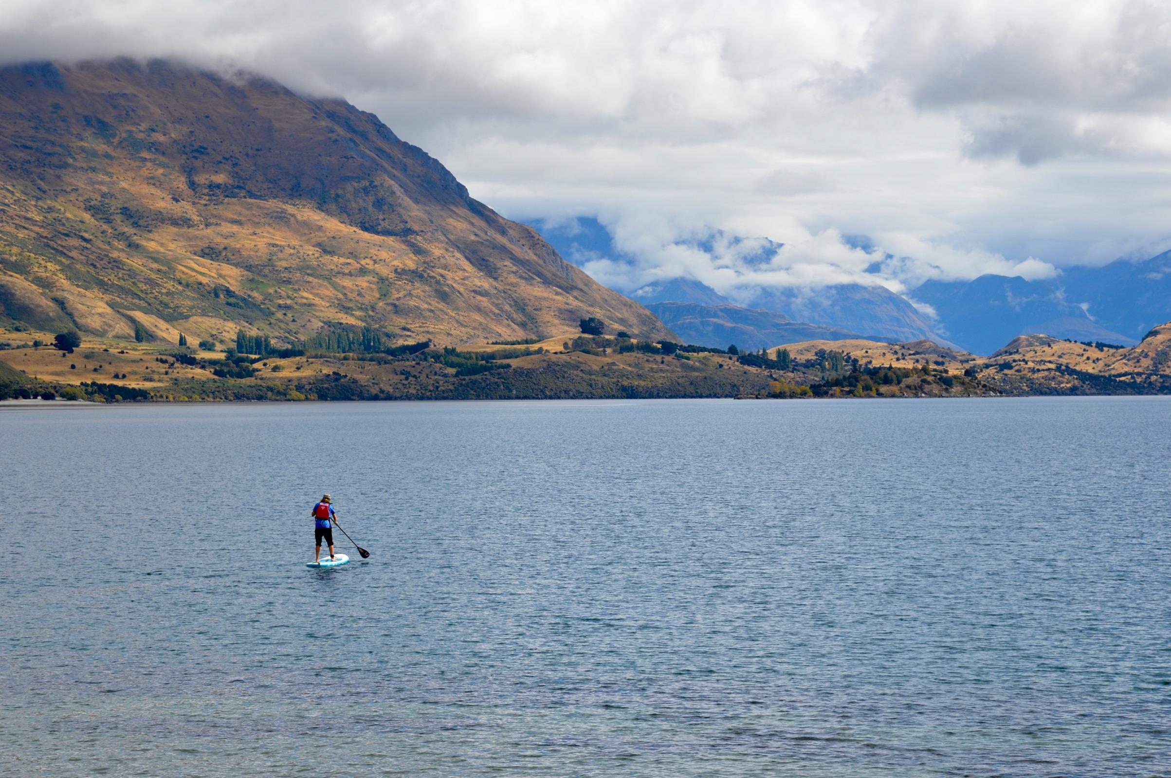 Paddleboarder, Lake Wanaka, New Zealand