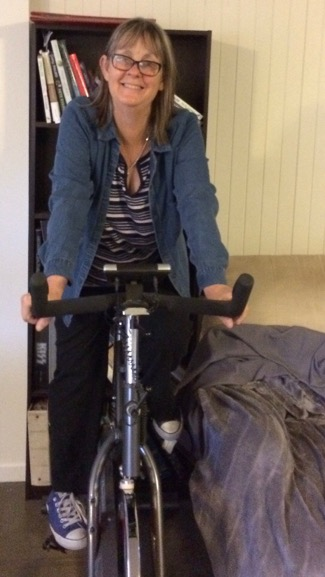Bree on her exercise bike