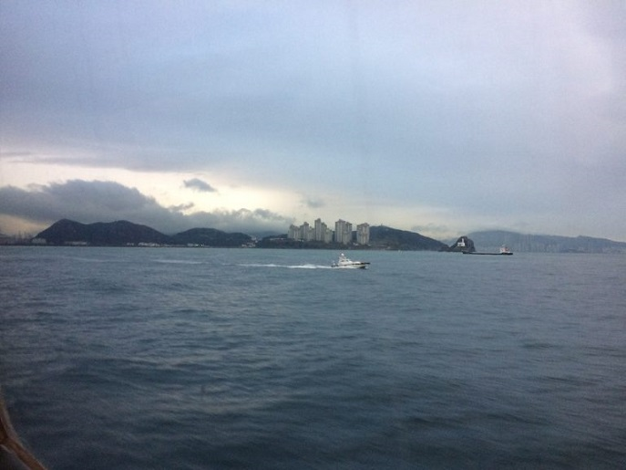 Approaching Busan by ferry, South Korea